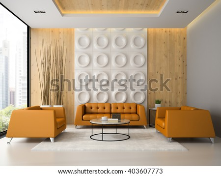 Interior of living room with orange armchairs and sofa 3D rendering  - stock photo