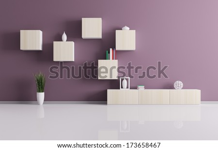Interior of living room with shelves background 3d render - stock photo