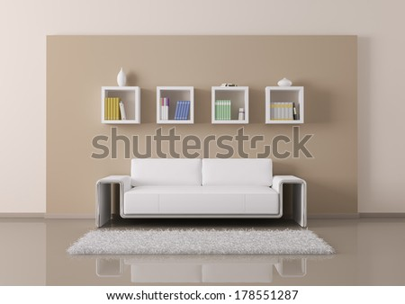Interior of living room with sofa and bookshelves 3d render - stock photo