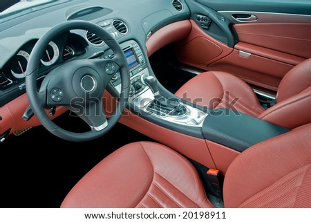 Interior of luxurious sport car - stock photo