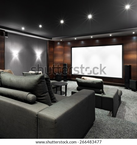 Interior of luxury home theater - stock photo