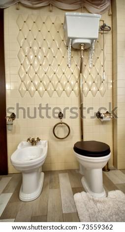 Interior of luxury vintage bathroom in resort apartment - stock photo