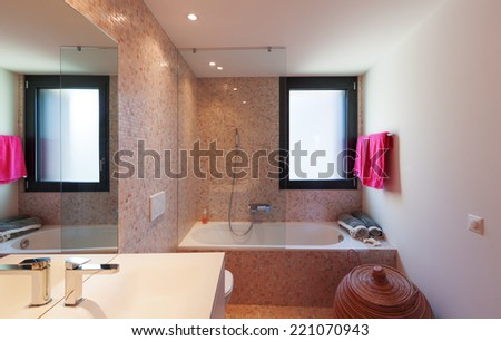 Interior of modern apartment furnished, bathroom - stock photo