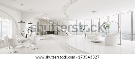 Interior of modern apartment living dining room panorama 3d render - stock photo