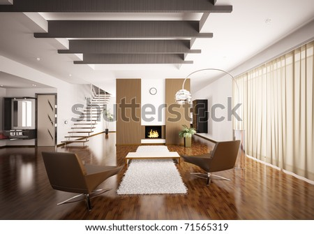 Interior of modern apartment living room hall 3d render - stock photo
