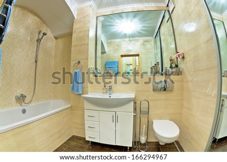 Interior of modern bathroom with mirror - stock photo