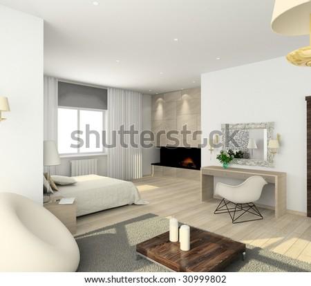 interior of modern bedroom. 3D render - stock photo