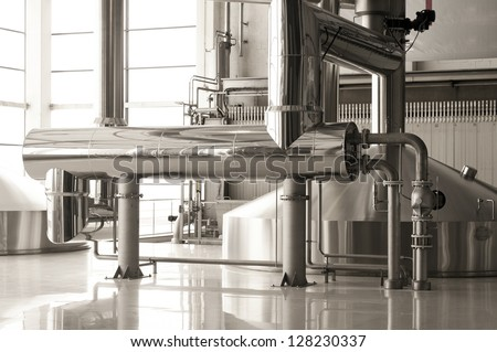 Interior of modern brewery - stock photo