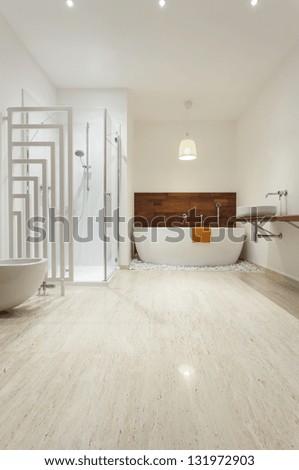 Interior of modern bright bathroom - stock photo