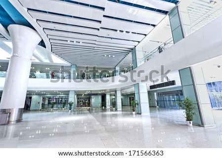 interior of modern building - stock photo