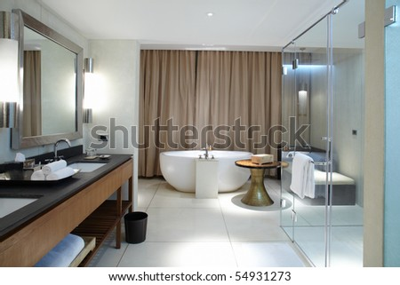 Interior of modern comfortable bathroom - stock photo