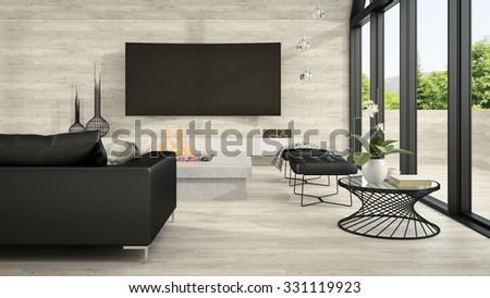 Interior of modern design living room 3D rendering - stock photo