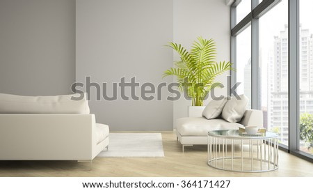 Interior of modern design loft with palm 3D rendering  - stock photo