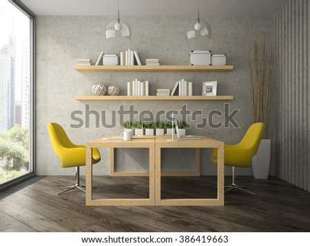 Interior of modern  design office with two tables 3D rendering  - stock photo