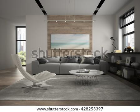 Interior of modern design room 3D rendering - stock photo