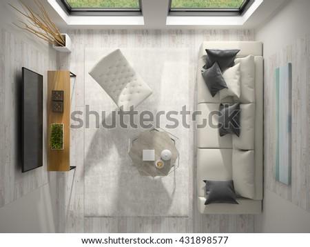 Interior of modern design room top view 3D rendering - stock photo