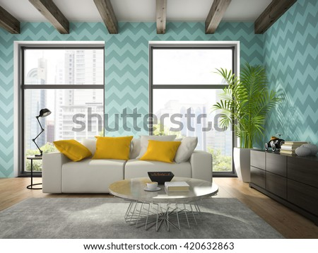 Interior of modern design room with blue wallpaper 3D rendering  - stock photo