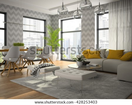 Interior of modern design room with grey wallpaper 3D rendering - stock photo