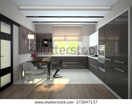 Interior of modern kitchen (3D) - stock photo