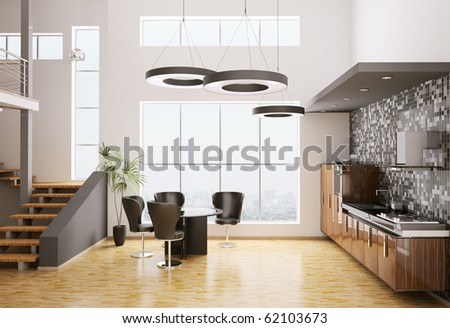 Interior of modern kitchen made with ebony wood 3d render - stock photo