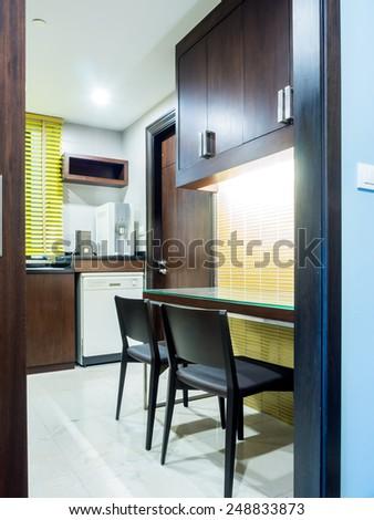 Interior of modern Kitchen & Pantry - stock photo