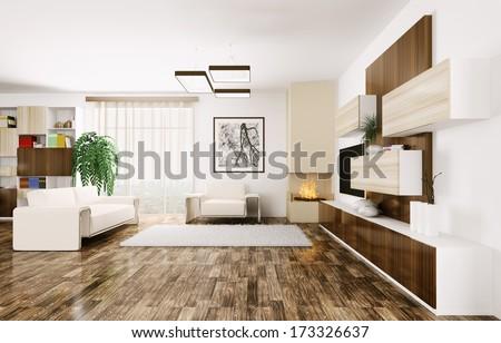 Interior of modern living room 3d render - stock photo