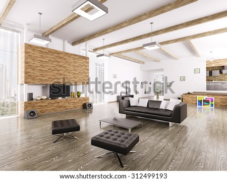Interior of modern living room 3d render - stock photo