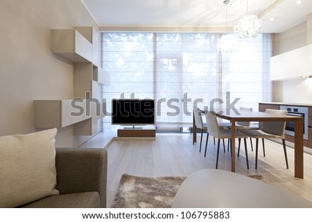 Interior of modern living room with kitchen - stock photo