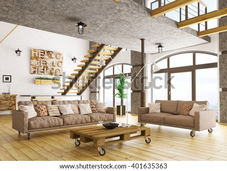 Interior of modern living room with staircase, two sofas, pallet table 3d rendering - stock photo