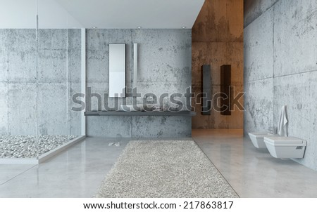 Interior of Modern Luxury Bathroom Decorated in Grey Minimalistic Style - stock photo