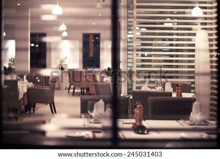 Interior of modern nigt club or restaurant. Toned photo - stock photo