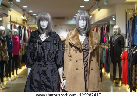 Interior of modern of clothes shop in Hong Kong - stock photo