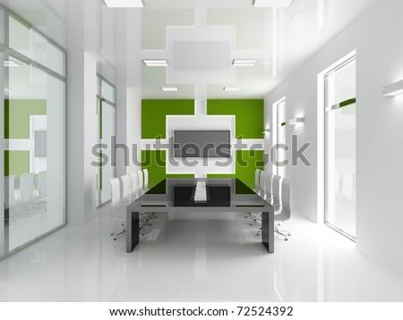 Interior of modern office 3D - stock photo