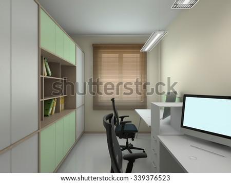Interior of modern office 3D rendering - stock photo