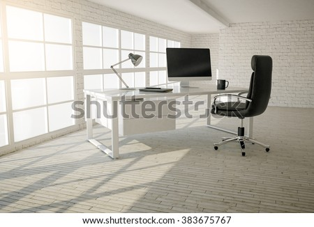 Interior of modern office with white brick walls, wooden floor and large windows - stock photo