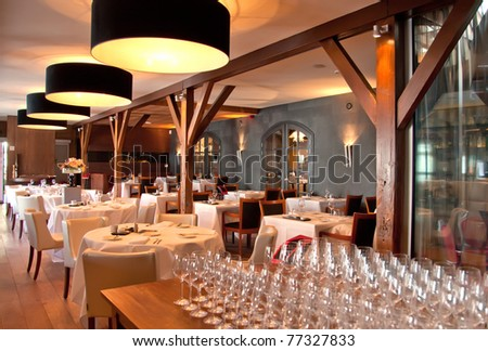 interior of modern restaurant in classic - stock photo
