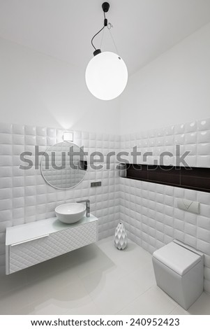 Interior of modern restroom in white colors - stock photo