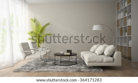 Interior of modern room  with white armchair and sofa 3D rendering  - stock photo