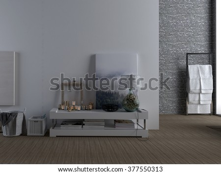 Interior of Modern Spacious Home - Detail of Low Shelf Decorated with Accents and Photographs Against Plain Wall with View of Towel Rack in Background Bathroom. 3d Rendering. - stock photo