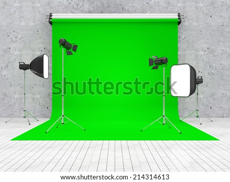 Interior of Modern Studio with Green Screen and Equipment - stock photo