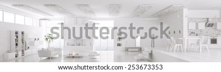 Interior of modern white apartment living room hall kitchen panorama 3d render - stock photo