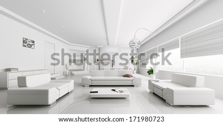 Interior of modern white living room panorama 3d render - stock photo