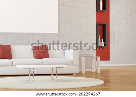 Interior of modern white living room with carpet and sofa - stock photo
