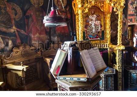 Interior of monastery in a summer day in Meteora, Greece - stock photo