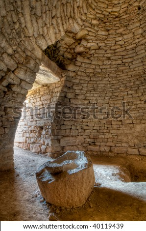 Interior of Mycenaean 'bee-hive' burial chamber, Greece - stock photo