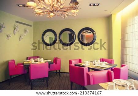 interior of new modern restaurant - stock photo