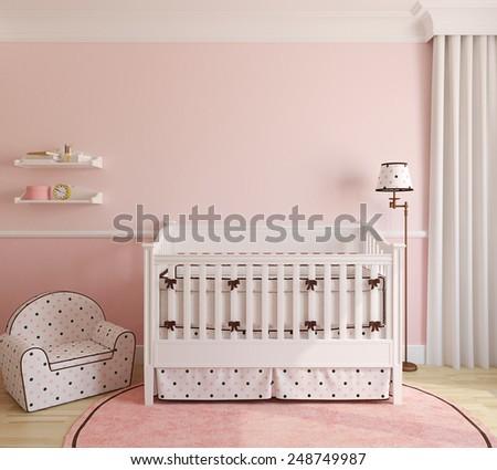 Interior of nursery for girl. 3d render. - stock photo