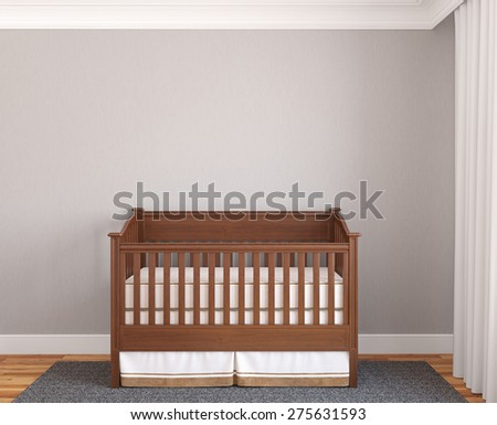 Interior of nursery with wooden crib near empty gray wall. Frontal view. 3d render. - stock photo