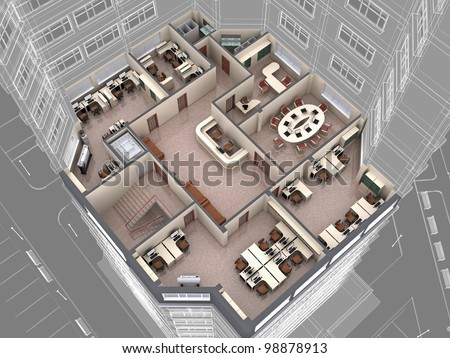 Interior of office building look downwards. 3d image. - stock photo