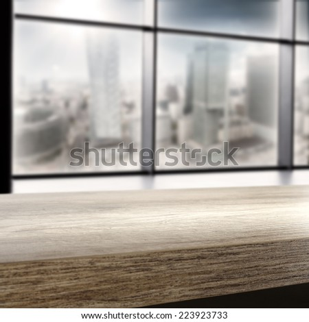 interior of office with window and desk  - stock photo